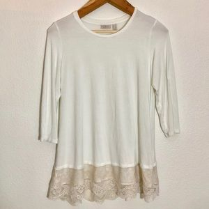 LOGO long sleeve lace hem shirt l